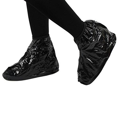 DealMux Unisex PVC Reusable Water Dirt Resistant Non-slip Shoes Covers Overshoes Black Pair XXL uJGlS0