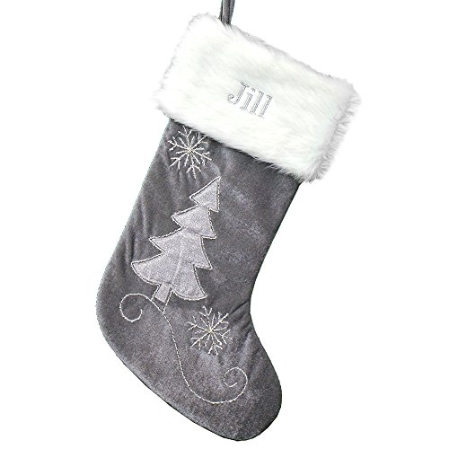 GiftsForYouNow Grey Velvet Silver Beading Personalized Stocking, 20'', Embroidered by GiftsForYouNow