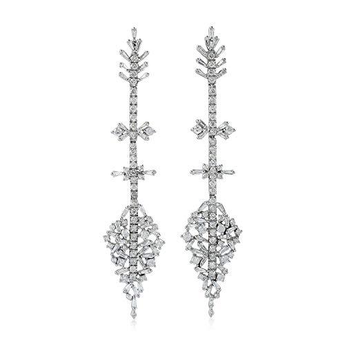 - FidgetKute Estate 4.45ct Pave White Dangle Earrings Baguette Jewelry