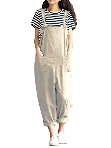 (Sobrisah Women's Strap Overall Pockets Bib Baggy Playsuit Pants Casual Sleeveless Jumpsuit Trousers Khaki Tag 3XL)