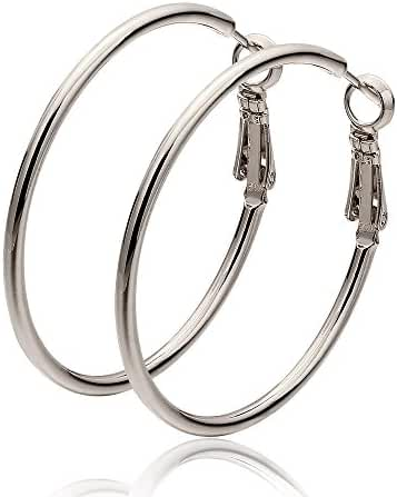 Cos2be Stainless Steel Round Hoop Earrings,1.6""