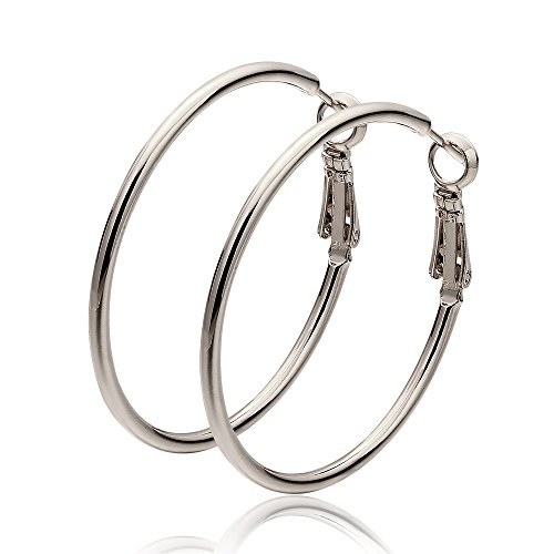 """Cos2be Stainless Steel Round Hoop Earrings,1.6"""" (Silver - Tone Clip Round"""