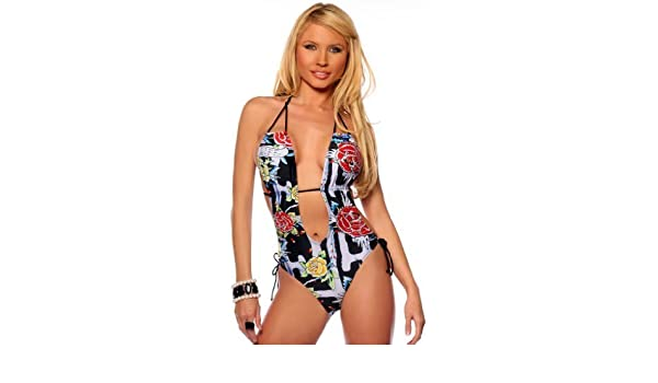 4795a7e931f4d Amazon.com: Tattoo Print One Piece Sexy Womens Monokini Swimsuit Bikini,  Small, English Rose: Clothing