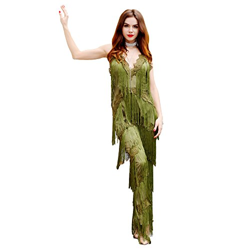 - Missord Women Spaghetti straps V-Neck halter lace tassel jumpsuits with zipper Army Green Small