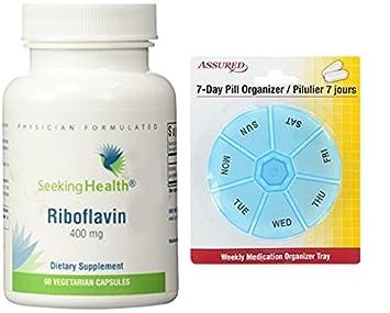 Riboflavina | 400 mg Vitamina B2 | 60 cápsulas vegetarianas con gratis 7 días plástico píldora