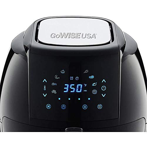 GoWISE USA 1700-Watt 5.8-Quarts 8-in-1 Digital Touchscreen Air Fryer XL + 50 Recipes for your Air Fryer Cookbook (Black) by GoWISE USA (Image #2)