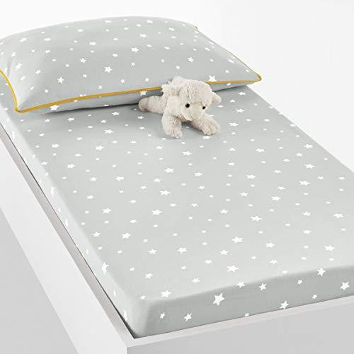 La Redoute Interieurs Etoiles Baby Cotton Sheet Grey Size 70 X 140 -