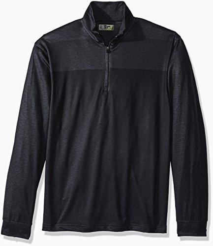 PGA TOUR Men's Long Sleeve 1/4 Zip Pullover, Printed Heather Caviar XL