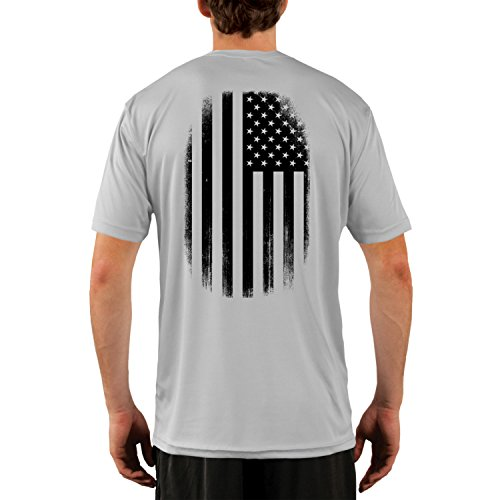 Dead Or Alive Clothing Men's Black and White American Flag UPF 50+ Short Sleeve T-Shirt Large Pearl - T-shirt Mens Alive