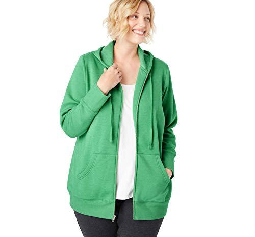 Clover Womens Zip Hoodie - Woman Within Women's Plus Size Better Fleece Zip-Front Hoodie - Heather Vibrant Clover, M