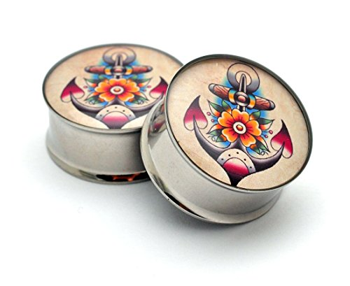- Double Flare Traditional Anchor Picture Plugs - Sold As a Pair (1/2