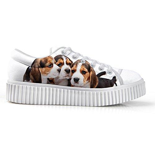 Bigcardesigns Simpatici Cani Design Casual Sneaker Basse Top Lace-up Scarpe Da Skate Girls Dog6