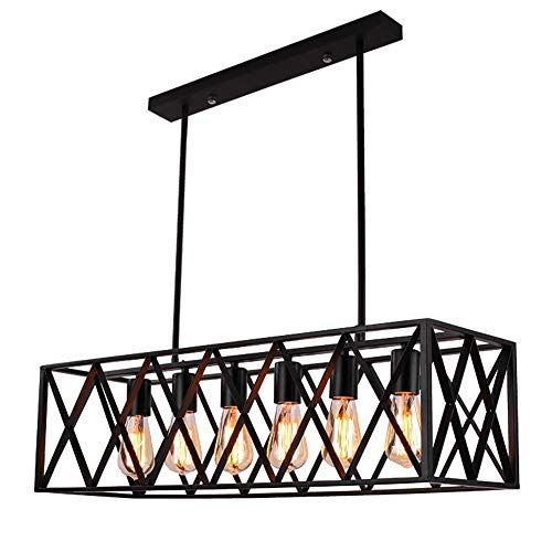 Wrought Iron Island Pendant (EFINEHOME Efine Vintage Industrial 6 Lights Edison Retro Rustic Wrought Iron Black Chandelier Rectangle Island Light Fixtures Max 360w NO Glass)