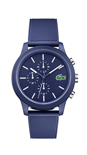 Lacoste Men's 12.12 Quartz Chrono TR90 and Rubber Strap Casual Watch, Color: Blue (Model: 2010970)