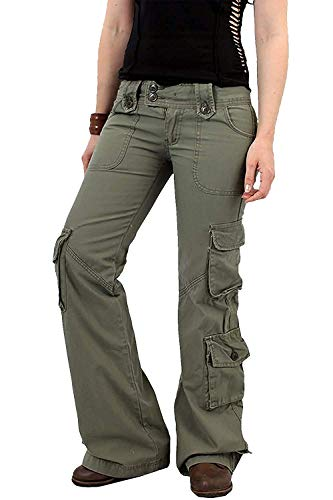 - Hikgo Womens Relaxed Fit Cargo Pants Bell Bottom Twill Trousers Multi-Pocket Flared Pants Army Green
