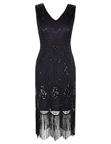 PrettyGuide Women 1920s Dress Gatsby Cocktail Sequin Art Deco Flapper Dress XXL Purple -