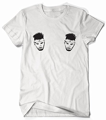 (Chris Brown - Double Chest Print - White with Black Print)