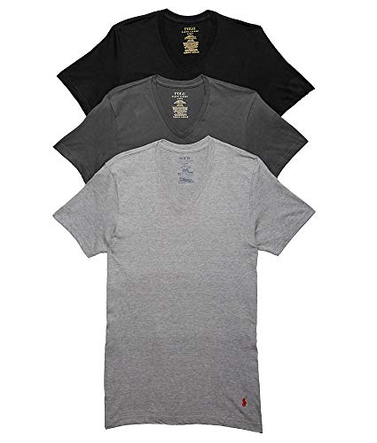 Polo Ralph Lauren Classic Fit Cotton T-Shirts 3-Pack, L, Black/Grey Combo 3 T-shirt Combo Pack