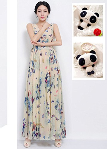 Charmy Women's V-Neck Butterfly Printed Back Zipper Flare Beach Maxi Dress Blue XXXL