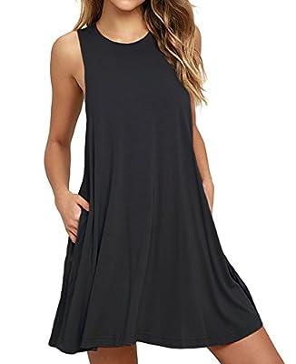 Unbranded* Women's Sleeveless Pocket Casual Loose T-Shirt Dress.