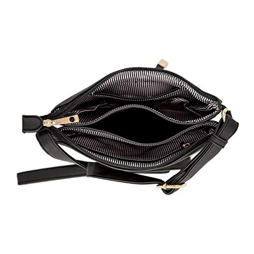 Tassel Adjustable EMPERIA Bag Strap Crossbody Central Size Bag Double Gusset Small Black pXrFAwqX