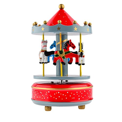 Alytimes Carousel Wooden Music Box Wooden 4 Horses Rotating Music Box Birthday Valentine's Christmas Children Gifts Toy (starry sky (Wooden Music)