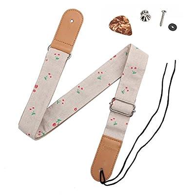 HOT SEAL Linen Style Adjustable Genuine Uke Leather Metal Hook Ukulele Strap Strong Back Straps
