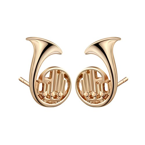 Qiandi Round French Horn Music Trumpet Piercing Stud Earring Girl Women Men Christmas Party Birthday Gift