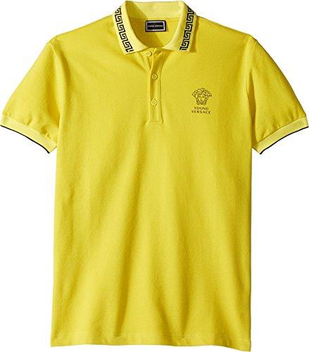 Versace Kids Boy's Short Sleeve Polo With Logo (Big Kids) Yellow - Kids For Versace