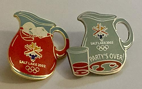 Rare 2002 Salt Lake City Winter Olympics Kool Aid Pitcher & Party's Over End of Games Empty Pitcher & Cup Set of 2 Pins