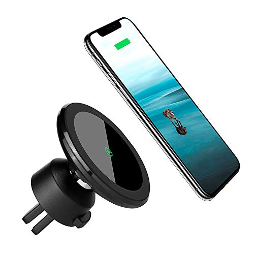Wireless Car Charger Mount Magnetic Phone Holder, Qi 10W Fast Charging Pad, Dashboard & Windshield Car Mount Charger for iPhone X, 8/8 plus, Samsung S7/S8+/Note 7 & Qi Enabled Devices ()