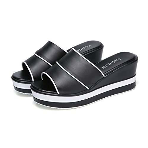 PENGFEI Chanclas de playa para mujer Zapatillas de verano Sandalias de diamantes de compras Estudiante femenina Ocio Antideslizante Pendiente inferior gruesa con sandalias en blanco y negro Cómodo y t Negro
