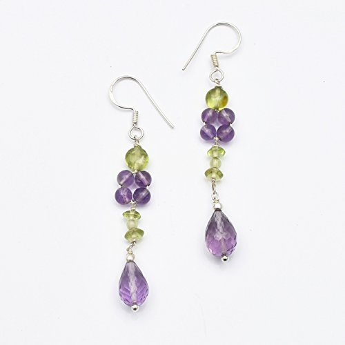 Amethyst and Peridot Beads Chandelier Earrings with 925 Sterling Silver Findings 2