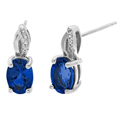 .90 Ct Oval Blue Sapphire .05 cttw Diamond Sterling Silver Birthstone Earrings by Metro Jewelry