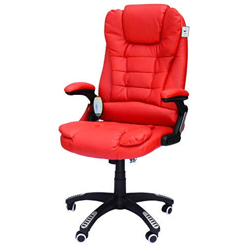 HomCom High-Back Executive Ergonomic PU Leather Heated Vibrating Massage Office Chair - Red