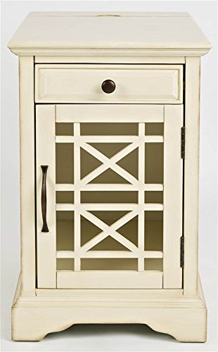 Jofran 675-22 Craftsman Power Chairside Table Antique Cream, 16 W X 22 D X 25 H, Finish, Set of 1