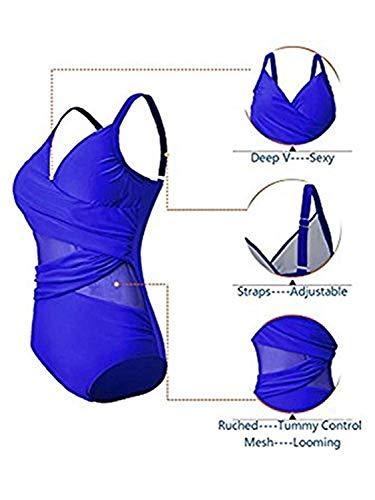 Century Star Women's Deep Mesh Monokini Tummy Control Slimming Swimwear One Piece Swimsuit for Women