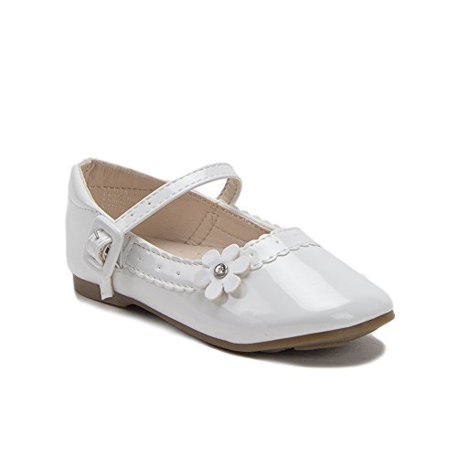 Price comparison product image J'aime Aldo Toddler Girls Scalloped Patent Leather Round Toe Mary Jane Flats Shoes, White, 11