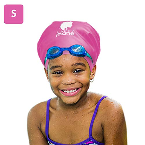 Happy Mane Silicone Swim Cap for Braids and Dreadlocks – Keeps Your Hair Dry While Swimming and Bathing Long Hair, Extensions, and Curly Hair – Large & XL Shower Cap for Women, (Pink, S, Kids)