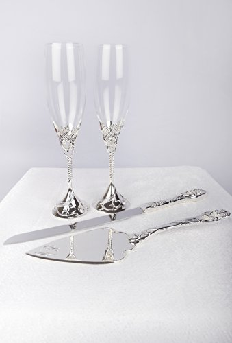 Unik Occasions Wedding Toasting Glasses and Cake Serving Set (Toasting Flutes Wedding)