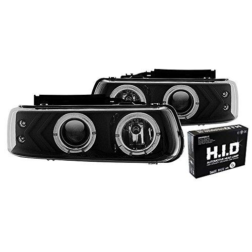 Winjet WJ10-0214-04 Projector Halo Headlights for 1999-2006 Chevrolet Silverado Suburban Tahoe - Black/Clear