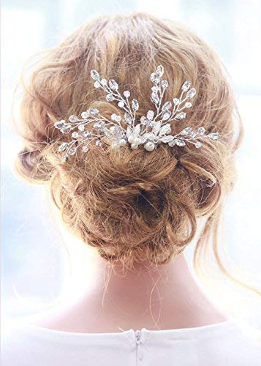 マーキー増幅器屋内でMissgrace Bridal Crystal Rhinestones Hair Comb Bridal Headpiece Bridal Hair Comb Crystal Headpiece Large Decorative Comb Wedding Hair Accessories [並行輸入品]