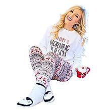 Christmas Womens Xmas Elk Print Pajamas Slim Fitness Trousers
