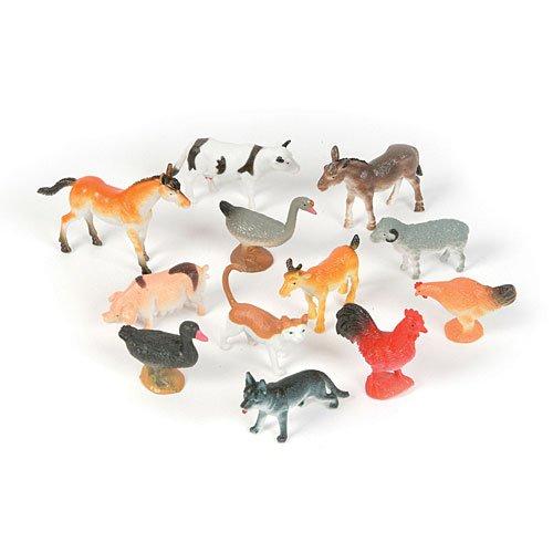 Plastic Farm Animals (12) (Various - color may vary) Party Accessory - Mini Farm Animals