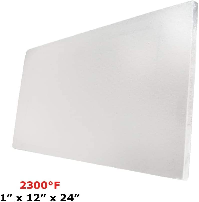 """Thermal Insulation Board (2300F) (1"""" X 12"""" X 24"""") for Wood Ovens, Stoves, Forges, Kilns, Furnaces"""
