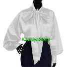 KanaiyaStore Vintage style Women Satin long sleeve Bow Blouse High Neck Shirt | eBay