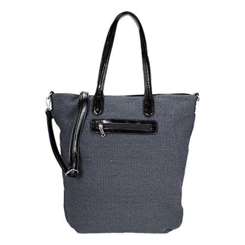 ROSENROT - STELLA DUE - XL Shopper Tasche Canvas mit Glitzer Stern aus Strass Ozeanblau
