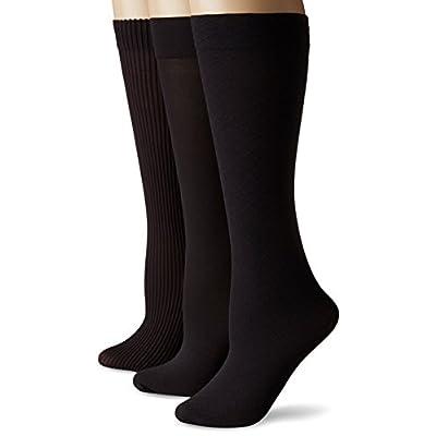 No Nonsense Women's Wardrobe Trouser Sock 3-Pack, Black, One Size at Women's Clothing store