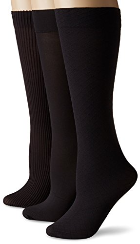 (No Nonsense Women's Wardrobe Trouser Sock 3-Pack, Black, One Size)