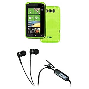 Cerhinu EMPIRE AT&T HTC Titan Neon Green Poly Skin Case Cover + Stereo Hands-Free 3.5mm Headset Headphones [EMPIRE Packaging...